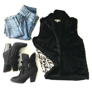 LOFT Faux Fur Vest with Black & White Knit Back